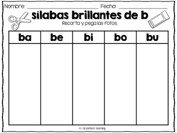 Sílabas brillantes – Spanish phonics activities for ba, be, bi, bo, bu