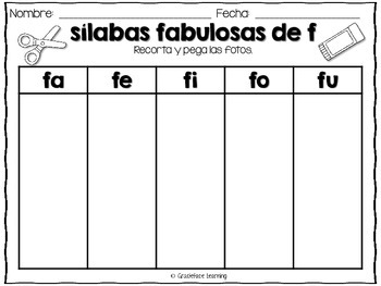 Sílabas fabulosas – Spanish phonics activities for fa, fe, fi, fo, fu