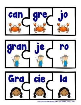 Sílabas compuestas (trabadas) -  Puzzles (Spanish Blends)