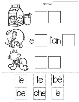 s labas con a e i o u worksheets and games for spanish syllables. Black Bedroom Furniture Sets. Home Design Ideas