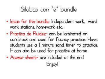 Silabas con E bundle (Spanish)