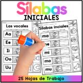 Sílabas con a, e, i, o, u - Spanish Worksheets