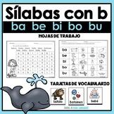 Sílabas con la letra b - ba, be, bi, bo, bu. Hojas de trabajo