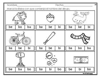 Sílabas con la letra b - ba, be, bi, bo, bu. Hojas de trabajo | TpT