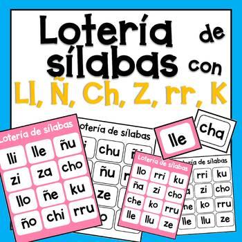 Sílabas con ll, ñ, ch, k, rr, z - lotería