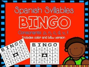 Silabas en ESPAÑOL - BINGO p, n, c, d, v, f
