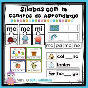 Silabas con m: ma, me, mi, mo, mu. Centros de Aprendizaje