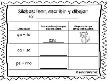 Sílabas: leer, escribir y dibujar