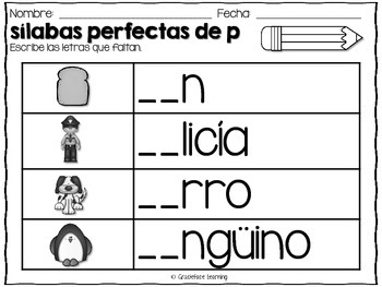 Sílabas perfectas – Spanish phonics activities for pa, pe, pi, po, pu