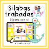 Silabas trabadas con cl | Vocabulario en Español | Boom Cards