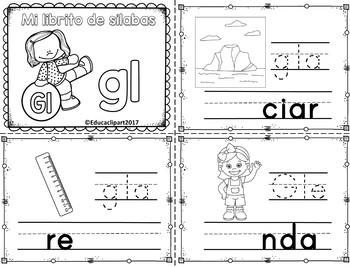 Sílabas trabadas - mini librito sílabas con gl