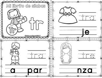 Sílabas trabadas - mini librito sílabas con tr
