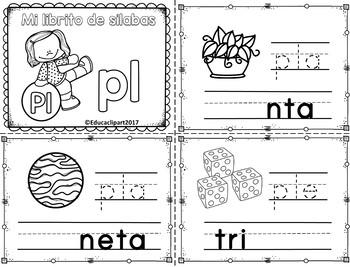 Sílabas trabadas - mini librito sílacbas con pl