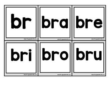 Silabas trabadas picture cards: bra bre bri bro bru