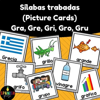 Silabas trabadas picture cards: gra gre gri gro gru