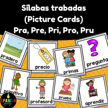 Silabas trabadas picture cards: pra pre pri pro pru