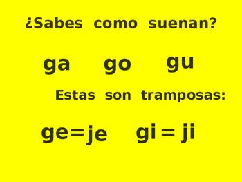 Silabas tramposas con g y j