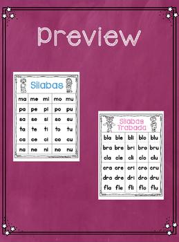 Silabas y Silabas Trabadas Chart