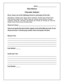 Silas Marner - Character Analysis Activity - George Eliot