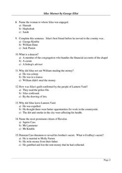 Silas Marner - Multiple Choice Final Quiz