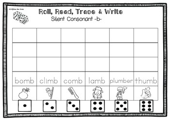 Silent Consonant Game: Roll, Read, Trace and Write