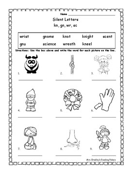 silent consonant letter worksheet gn kn wr sc by mrs bradleys reading palace. Black Bedroom Furniture Sets. Home Design Ideas