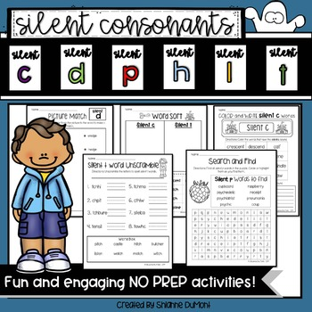 Silent Consonant NO PREP Worksheets for C, D, P, H, L, and T