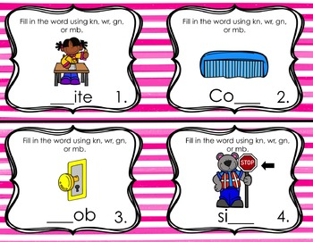 Silent Consonant Task Cards (gn, wr, kn, mb)