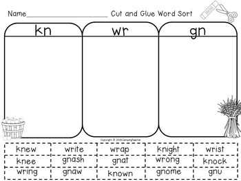 Silent Consonant Word Sort -gn, -kn, and -wr {Fall Theme}