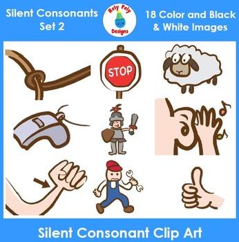 Silent Consonants Phonics Clip Art Set 2