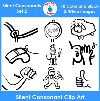 Silent Consonants Phonics Clip Art Set 2