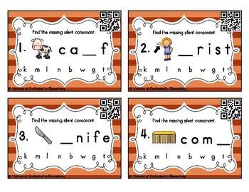 Silent Consonants Task Cards Set 1