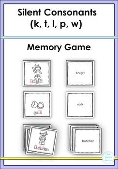 Silent Consonants ( k, t, l, p, w) Memory Game