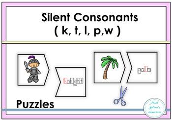 Silent Consonants ( k, t, l, p, w) Puzzles