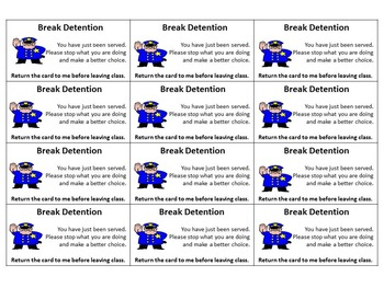 Silent Cue Detention Cards Printable and Editable Stop Unwanted Behavior Quick