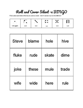 Silent E Bingo - Center Activity