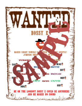 """Silent E - Bossy E """"Wanted"""" Poster"""
