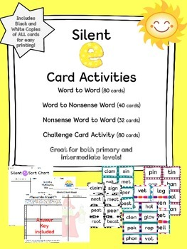 Silent E Cards and Activities
