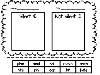Silent E Center, Folder Game and Bingo Game