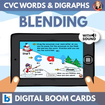 Snowman CVC Word Blending Digital Boom Cards