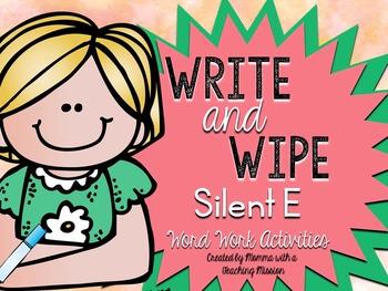 Silent E Phonics Write and Wipe Word Work RF.1.3