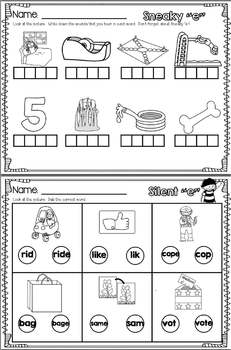 Silent E/ Sneaky E Activities- Word Cards