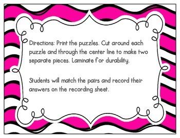 Silent E Vocabulary Puzzles