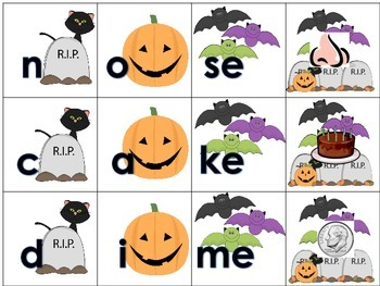 Silent E Word Building Daily 5 Literacy Station Halloween Themed