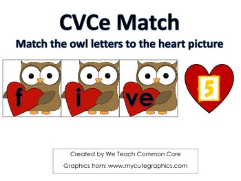 Silent E Word Building Literacy Daily 5 Word Work Activity Owl and Heart Themed