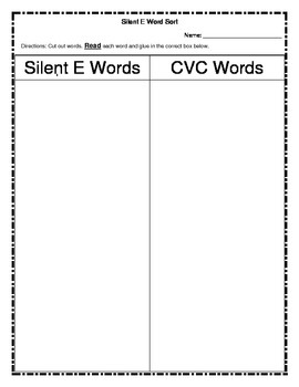 Silent E Word Sort