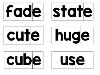 Silent E Words and Cut and Paste Activity