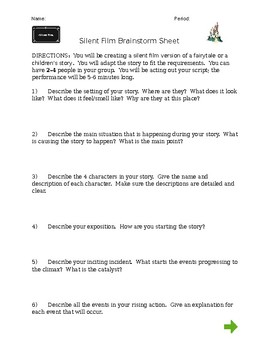Silent Film - Brainstorming Sheet