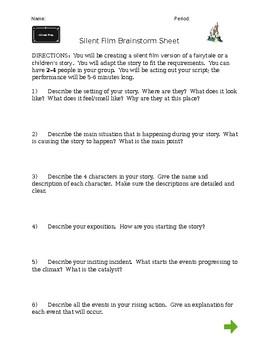 Silent Film - Brainstorming Sheet