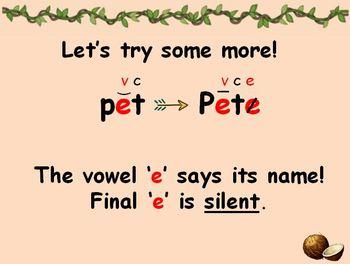 Silent Final e - Long Vowel lesson
